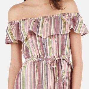 EXPRESS Striped Off The Shoulder Pink Button Dress